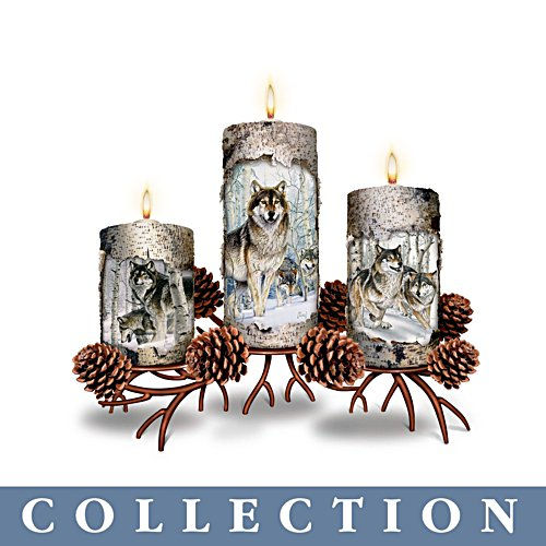 'Winters Glow' Wolf Candle Collection