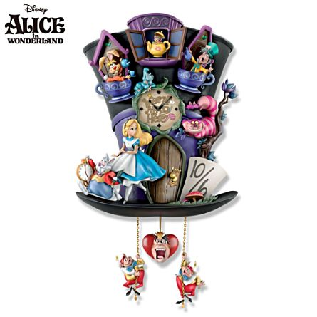 alice wonderland clock alice in wonderland 39 mad hatter 39 cuckoo clock. Black Bedroom Furniture Sets. Home Design Ideas