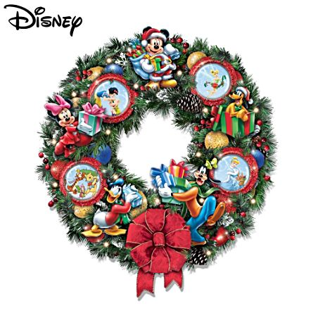disney lit wreath disney 39 it 39 s a magical disney christmas. Black Bedroom Furniture Sets. Home Design Ideas