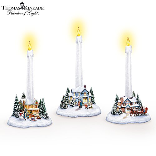 Thomas Kinkade Illuminated Village Candleholders: Set Of 3