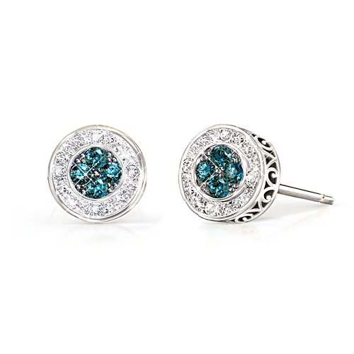 All That Glamour' Paradise Blue Diamond Ladies' Earrings