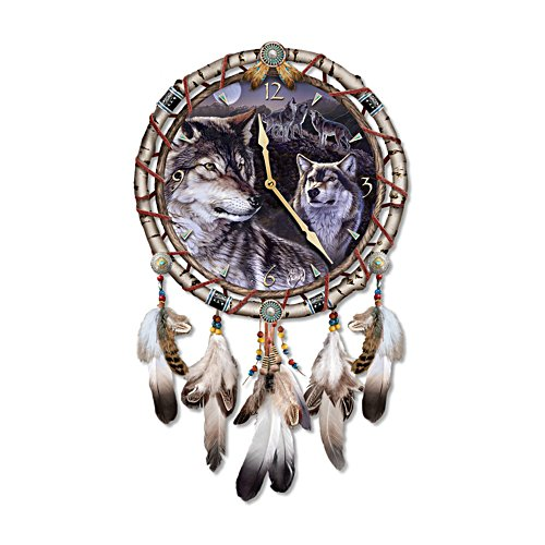Al Agnew 'Mystic Call' Wolf Dreamcatcher Clock