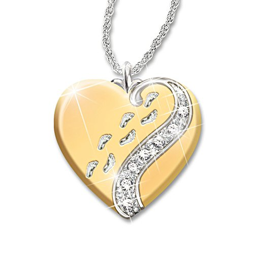 'Footprints In The Sand' Daughter Heart Pendant