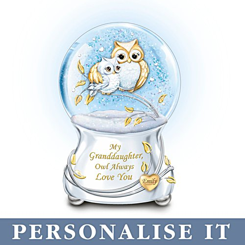'Granddaughter Owl Always Love You' Personalised Glitter Globe