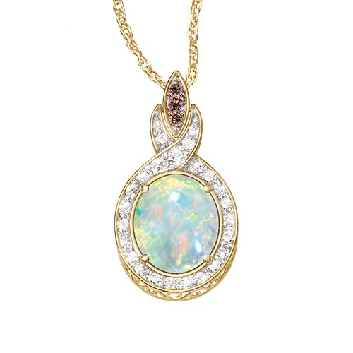 'Queen Of Gems' Ethiopian Opal And Diamond Pendant
