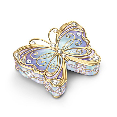 'Precious Jewel To Treasure Forever' Butterfly Porcelain Music Box