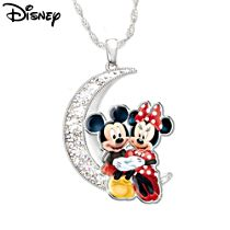 "Disney Mickey Mouse and Minnie Mouse ""I Love You To The Moon And Back"" Women's Pendant Necklace"