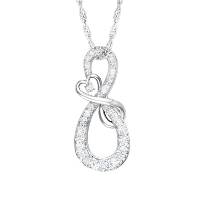 2ab84bac8e Mother & Daughter Diamond Infinity Sterling Silver Pendant
