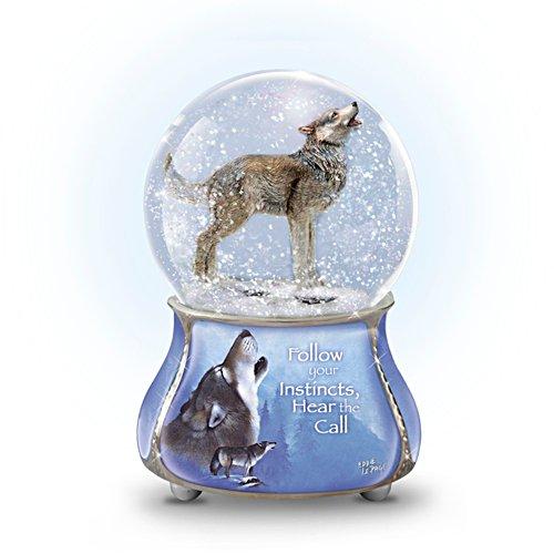 'Grey Guardian' Wolf Glitter Globe