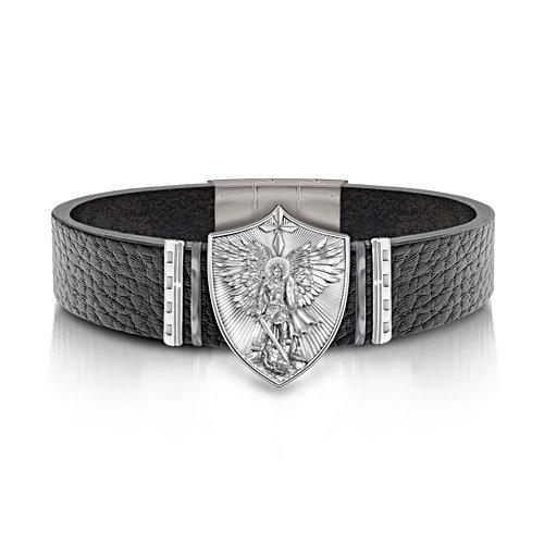 Zegevierende Heilige Michaël – leren armband