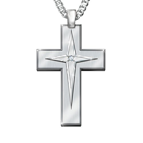 'Blessed Grandson' White Sapphire Cross Men's Pendant