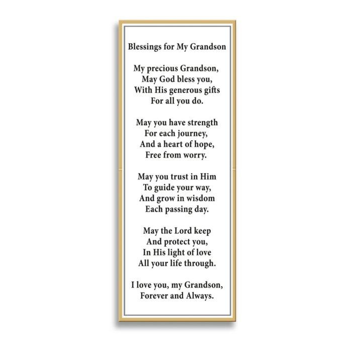'Blessed Grandson' White Sapphire Cross Men's Pendant
