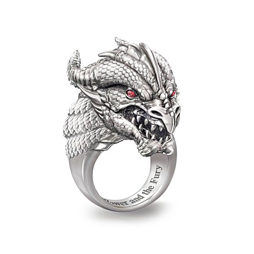 'Power And Fury' Men's Sculpted Dragon Head Ruby Ring