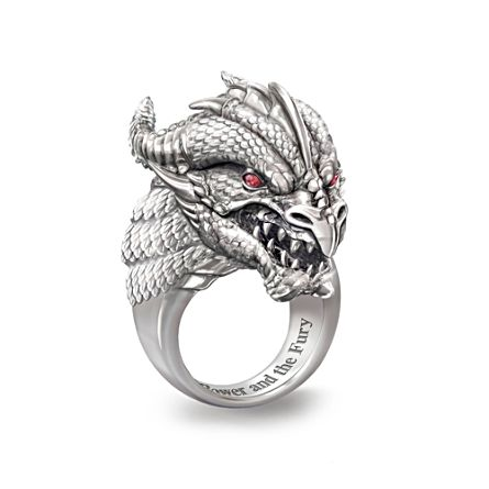 'Power And Fury' Sculpted Dragon Head Ruby Ring