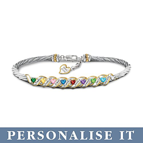 'Family Is Forever' Personalised Birthstone Bracelet
