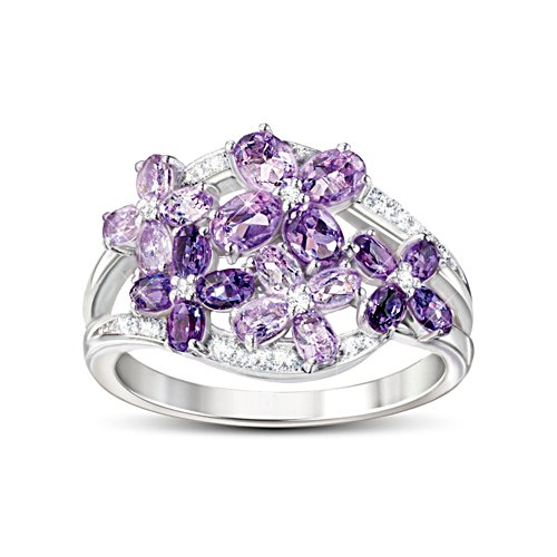 'Lilac Blossom' Amethyst And White Topaz Ring
