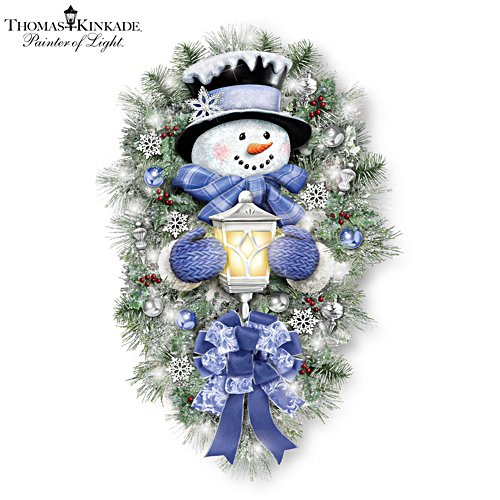 'A Warm Winter Welcome' Illuminated Snowman Wreath