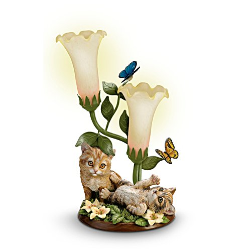 'Purr-fectly Playful' Kitten Illuminated Glass Torchiere