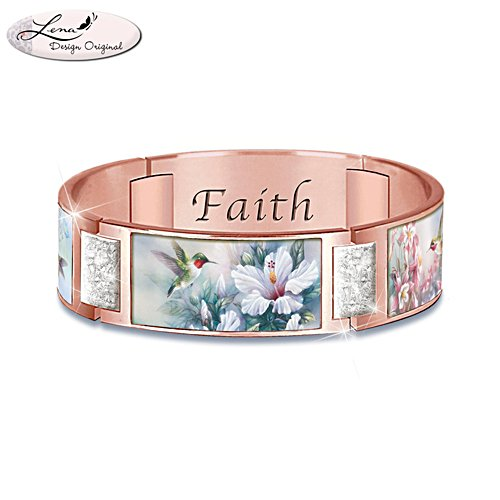 'Cherished Blessings' Rose Gold-Plated Ladies' Copper Bracelet