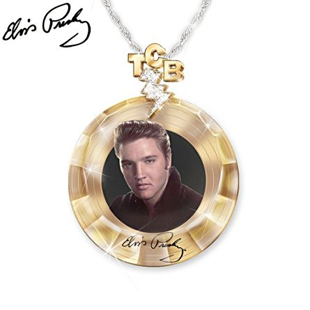 'Elvis™ Gold Record' Swarovski® Crystal Ladies' Pendant