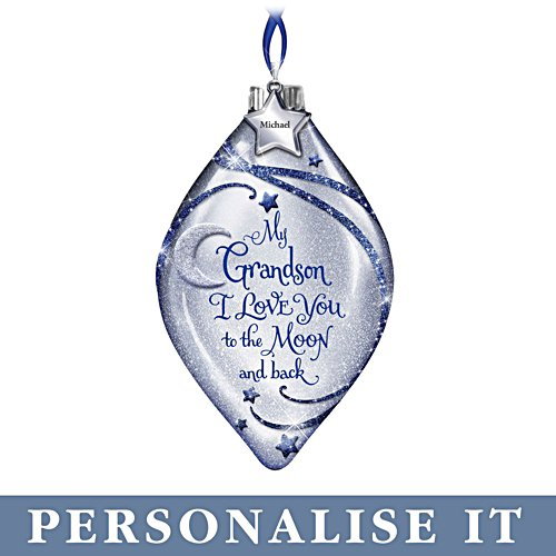 'I Love You To The Moon And Back' Grandson Personalised Illuminated Ornament