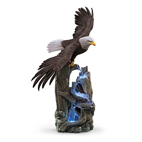 'Majestic Waters' Cold-Cast Illuminated Eagle Sculpture