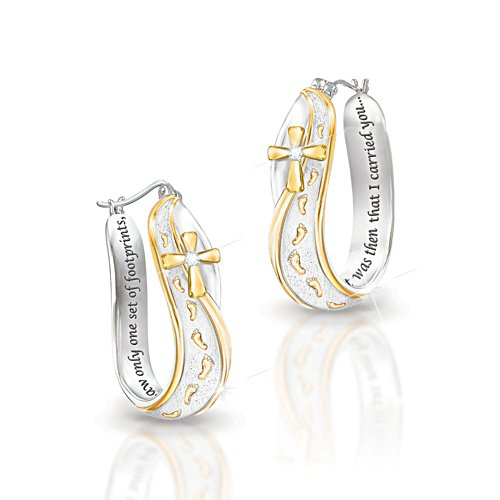 Footprints In The Sand' Engraved Diamond Ladies' Earrings