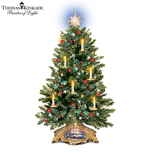 Christmas Trees Images.Thomas Kinkade Holiday Traditions Candlelit Tabletop Tree