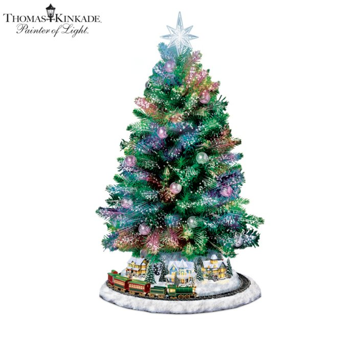 Thomas Kinkade Holiday Sparkle Lit Tabletop Tree