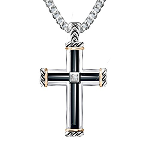 'God Is My Strength' Men's Diamond Cross Pendant
