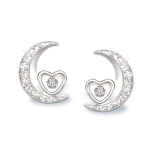 'I Love You To The Moon And Back Daughter' Diamond Earrings