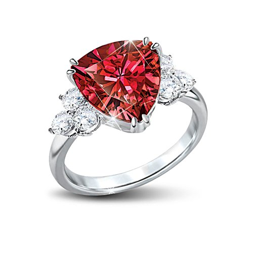 'Rarest Red' Red And White Diamonesk® Ladies' Ring