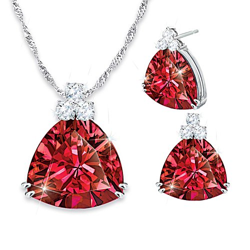 'Rarest Red' Red And White Diamonesk® Ladies' Pendant & Earrings Set