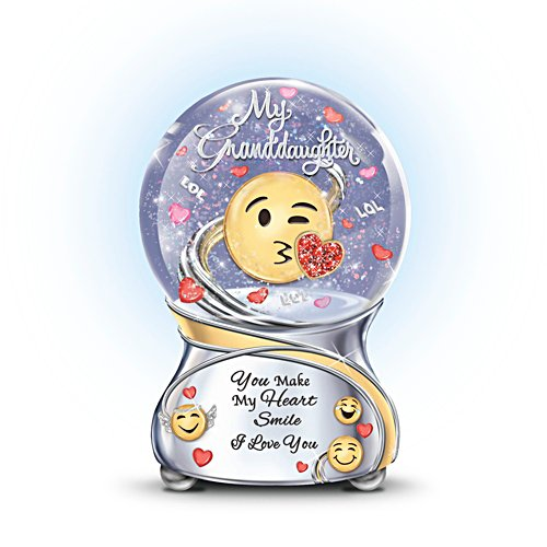 Granddaughter, You Make My Heart Smile' Emoji Musical Glitter Globe