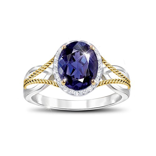 'Royal Radiance' Iolite & White Topaz Ladies' Ring