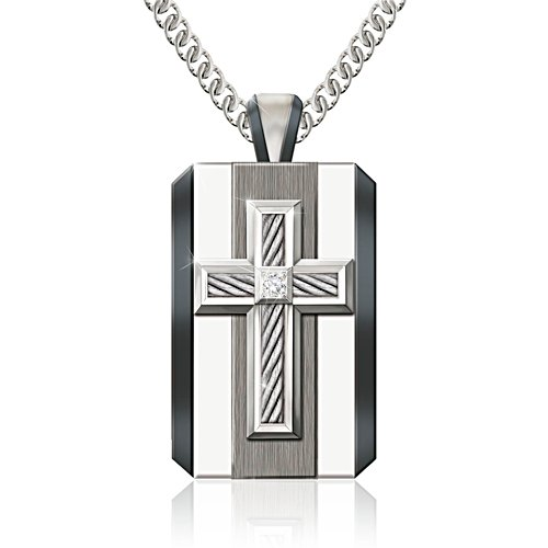 'God Is My Strength' Diamond Men's Pendant