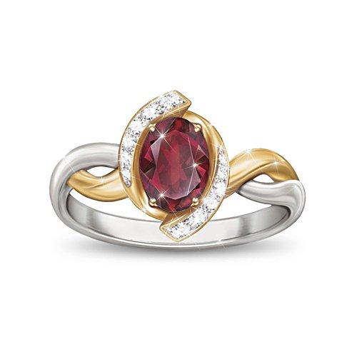 Magnificent Merlot' Garnet & White Topaz Ladies' Ring
