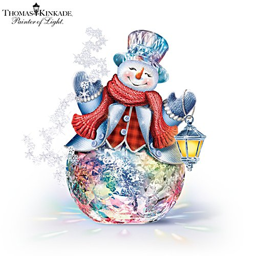 Thomas Kinkade 'Reflections Of Christmas' Colour-Changing Snowman Sculpture