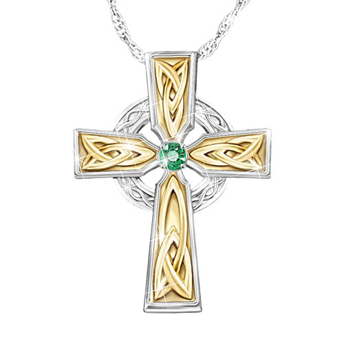 Irish Blessing' Ladies' Celtic Emerald Cross Pendant