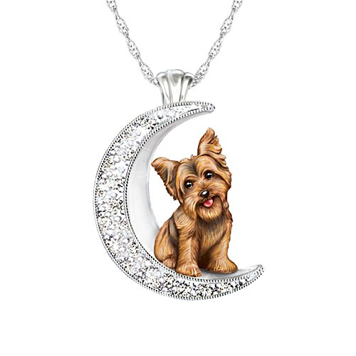 I Love My Yorkie To The Moon And Back' Ladies' Pendant