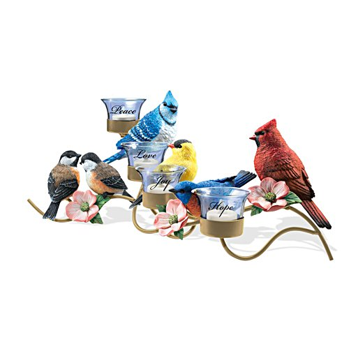 'Garden Gathering' Songbird Table Flameless Candle Centrepiece