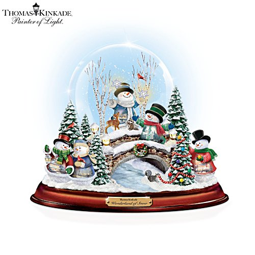 Versammlung der Schneemänner – Porzellan-Schneekugel mit Musik