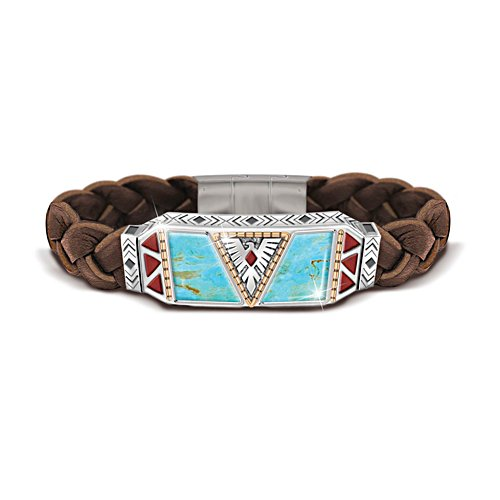 'Native Spirit' Men's Turquoise And Leather Bracelet