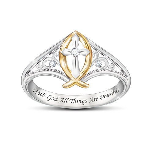 'Enduring Faith' Ichthus Fish Diamond Ladies' Ring