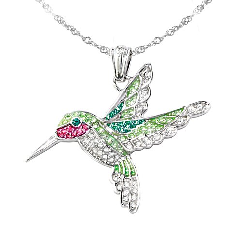 'Radiant Wings' Hummingbird Swarovski® Crystal Pendant