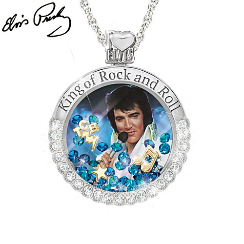 Elvis Presley™ 'Rock And Roll Elvis' Floating Crystal Pendant