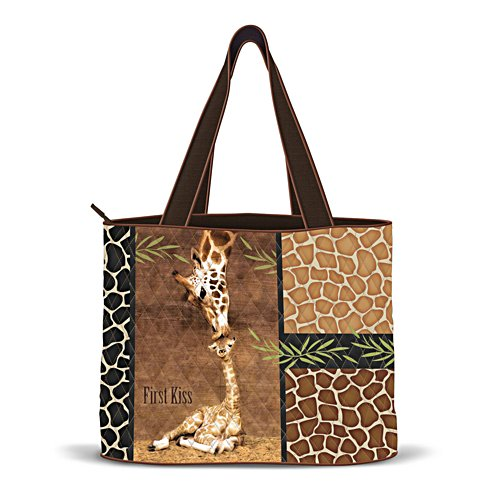 'First Kiss' Quilted Giraffe Ladies' Tote Bag