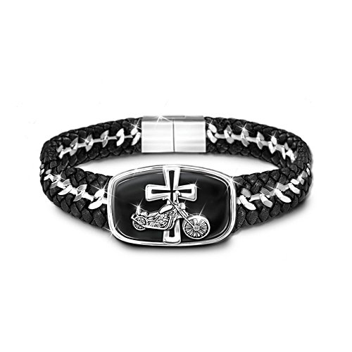 'Blessings For The Road' Leather Stainless Steel Bracelet