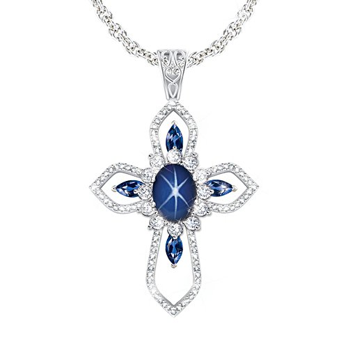 'Light Of Grace' Created Star Sapphire Cross Pendant