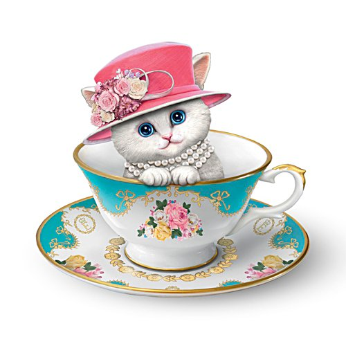 'Royal Purrfection' Tea Cup Cat Figurine